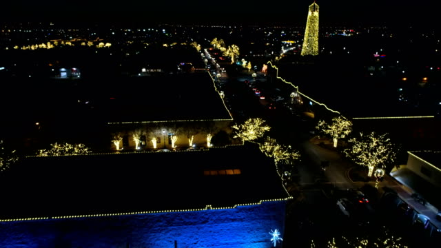 Round Rock Water tower and Downtown square lit up with Christmas lights during Holiday festivals