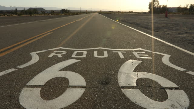 Route 66 road marker, Amboy, California, USA