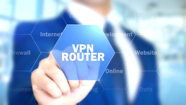 vpn-router, man som arbetar på holografiska gränssnitt, visuella skärmen - vpn bildbanksvideor och videomaterial från bakom kulisserna