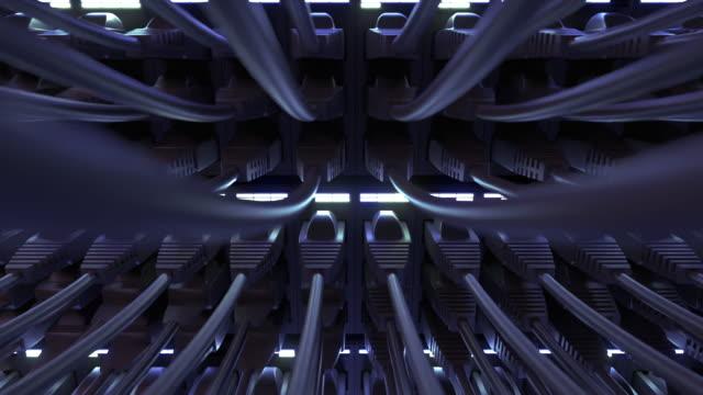 vídeos de stock, filmes e b-roll de roteador com cabos ethernet no servidor network wan fecha - vinho do porto