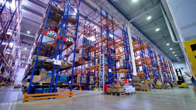 Routine warehouse day. Timelapse. 4K.