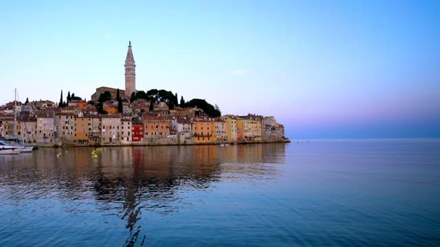 rovinj , croatia - beautiful cityscape skyline - хорватия стоковые видео и кадры b-roll