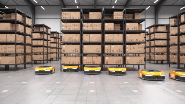 Row of autonomous robots start to move shelves or racks in automated warehouse