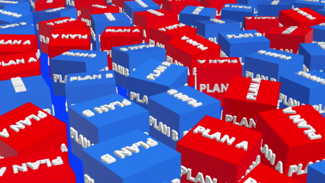 Row of cubes with plan a and plan b concept - vídeo