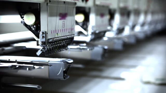 Row of Embroidery Sewing Machines video