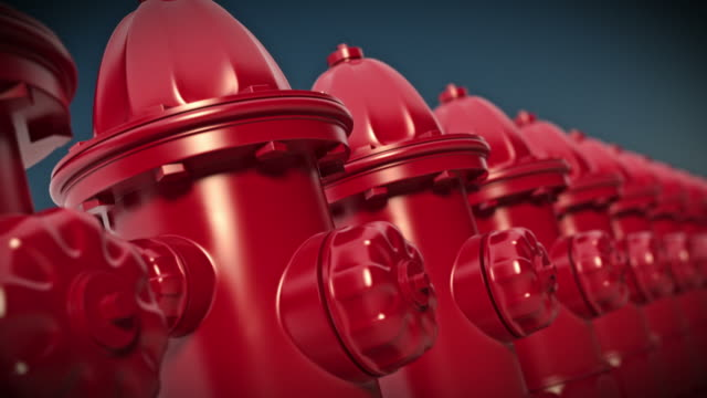 Row of red fire hydrants. Loopable CG. video