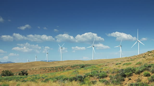 Row of Turbines on Gentle Rolling Hill video