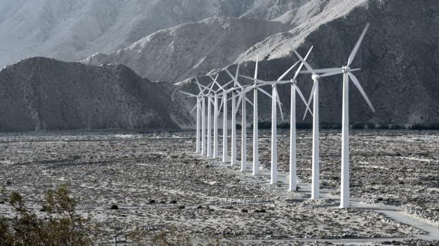 Row of wind turbines video