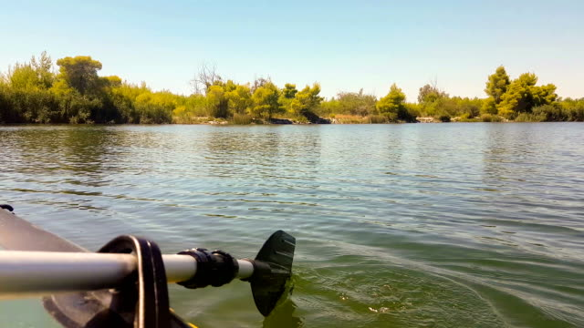 rowing at kaifa lake in peloponnese greece. - пелопоннес стоковые видео и кадры b-roll