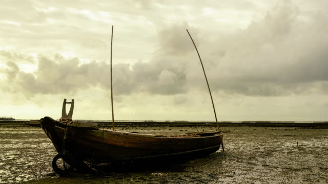 Rowing boat in the sea. video
