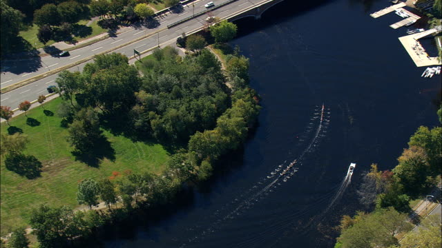 Rowing Eights On Charles River  - Aerial View - Massachusetts,  Middlesex County,  United States video