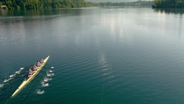 vídeos de stock, filmes e b-roll de equipe de remo aérea, deslizando sobre um lago em um quádruplo scull - remo esporte aquático