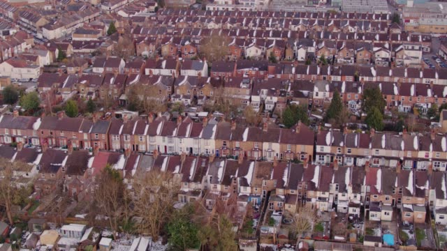 rows of houses in watford, england - aerial view - england stock videos & royalty-free footage