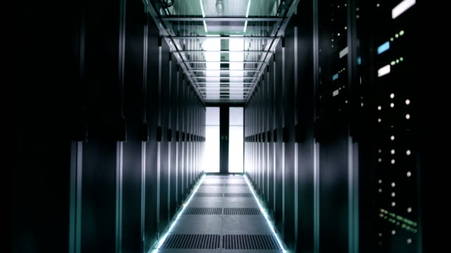 Rows of Rack Servers Turning on in Big Data Center. video