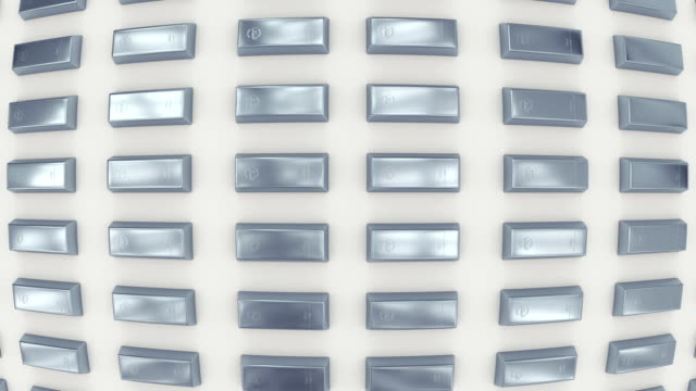rows of silver bars viewed in fisheye lens. (loop ready) - argentato video stock e b–roll