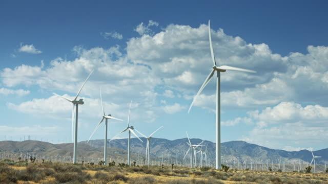 Rows of Turbines at Mojave Wind Farm video