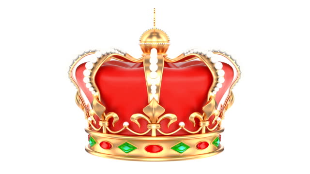 vídeos de stock e filmes b-roll de royal crown rotating, 3d rendering isolated on white background - coroa