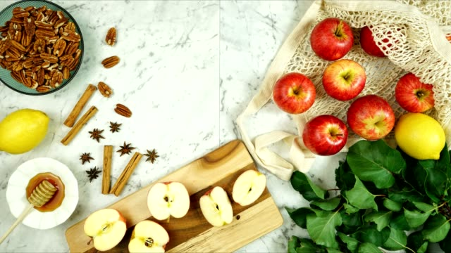 Royal Gala apples with honey and spices preparation for cooking and baking.