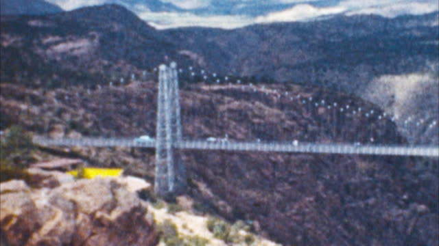 Royal Gorge Bridge (Archival 1950s)  suspension bridge stock videos & royalty-free footage