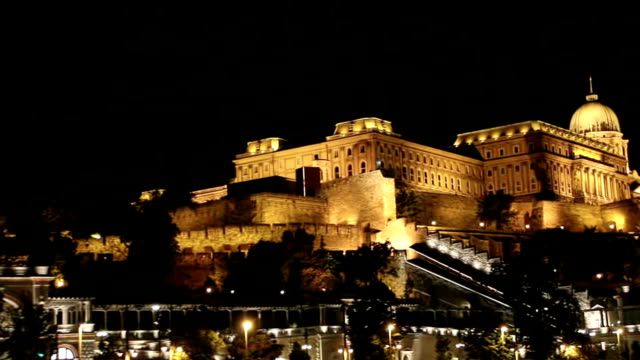 Royal Palace or Buda Castle at evening, Budapest. Hungary. With night illumination. video