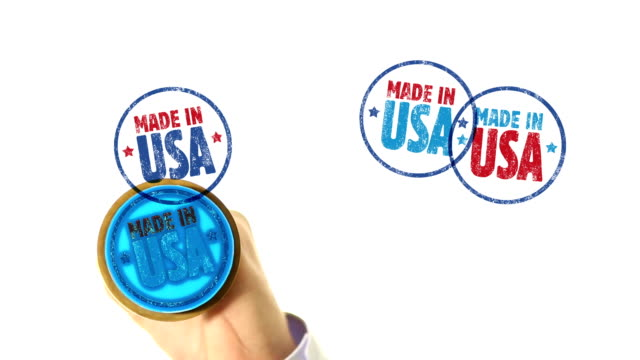 MADE IN USA rubber stamped fills the whole screen video