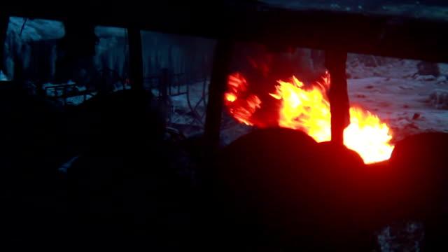 rubber tires burn in winter cold outdoors, dark smoke rising - lebanon 個影片檔及 b 捲影像