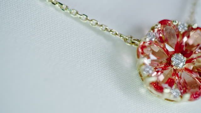 Ruby and Diamond Flower Pendant video