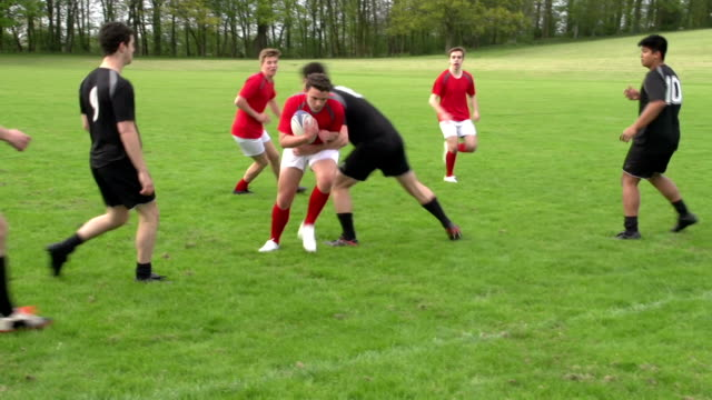 Rugby match action open play with two teams (Sport) video
