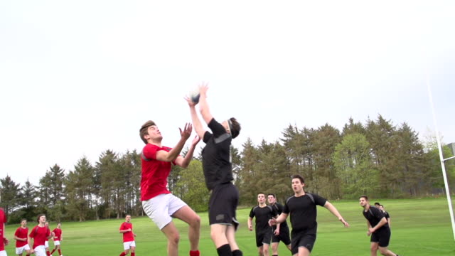 Rugby Match jumping for the ball - Super Slow motion video