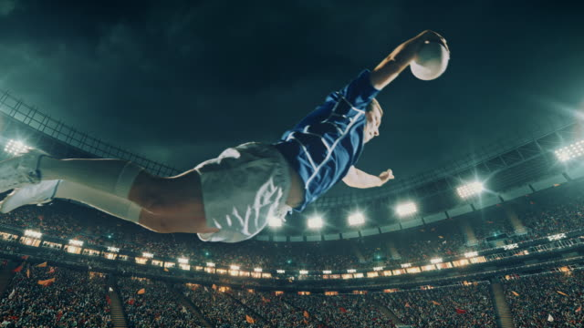 Rugby player jumps with a ball Professional rugby player jumps with a ball on a professional sports arena with bleaches full of people. Arena and people on it are made in 3D and animated. rugby stock videos & royalty-free footage