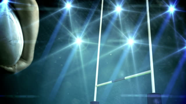 Rugby player standing face the post Rugby player standing face the post in stadium goal post stock videos & royalty-free footage