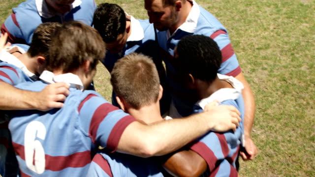 stockvideo's en b-roll-footage met rugbyspelers vormen een huddle op het veld 4k 4k - huddle