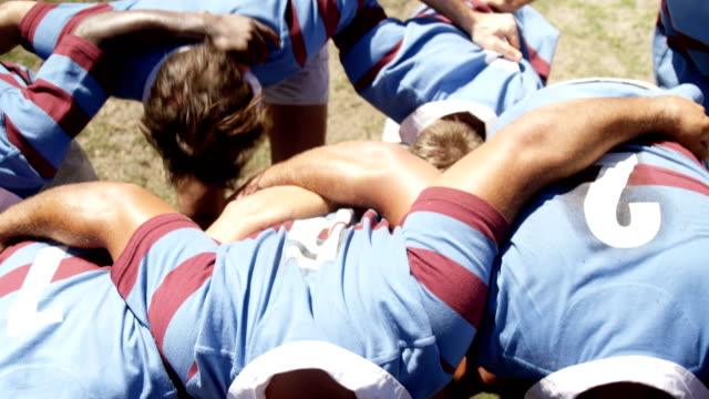 Rugby players practicing scrum 4K 4k video