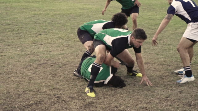Rugby players tackling during a game Rugby player with ball tackling the opponent during the match. Rugby players in action on the ground. rugby stock videos & royalty-free footage