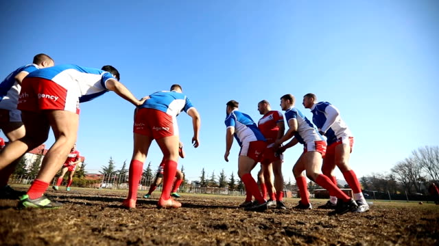 Rugby team playing on the field Group of men playing rugby outdoors rugby stock videos & royalty-free footage