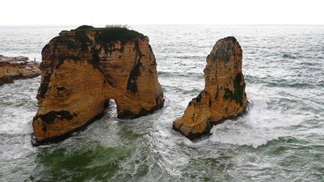 堅固的貝魯特海岸線黎巴嫩 - lebanon 個影片檔及 b 捲影像
