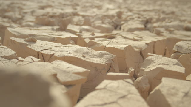 MACRO, DEPTH OF FIELD: Rugged field of clay cracking in blistering summer heat. video