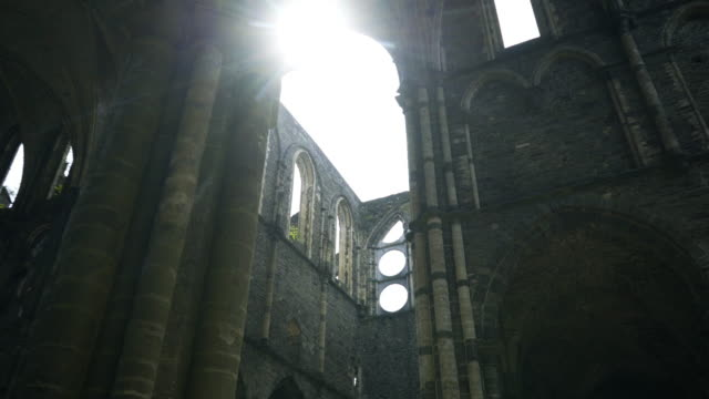 ruined abbey in sunlight - gothic architecture stock videos & royalty-free footage