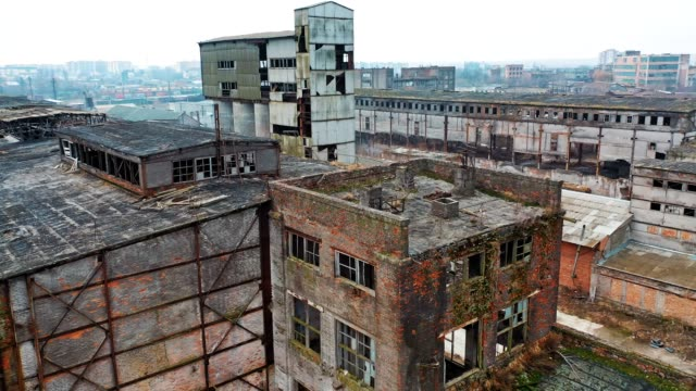 ruins of an old factory. - obsoleto video stock e b–roll