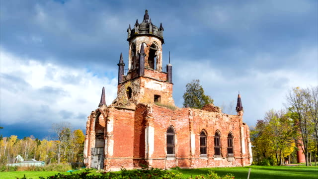 Ruins of ancient Church. time-lapse video