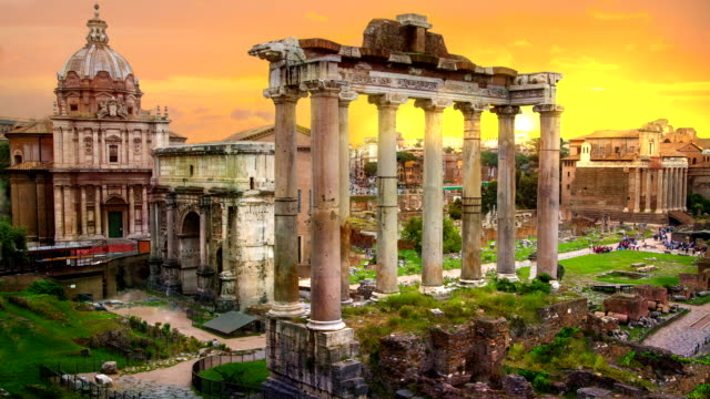 ruins of roman's forum at sunset, ancient government buildings started 7th century bc. rome - tempio video stock e b–roll
