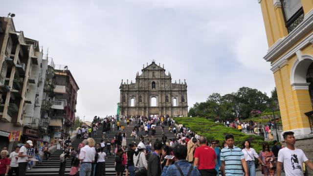 makao'daki st.paul kilisesi'nin kalıntıları - unesco stok videoları ve detay görüntü çekimi