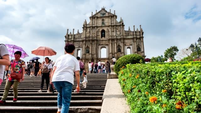 Ruins of St.paul's historic centre of UNESCO world heritage in Senado square at Macau video