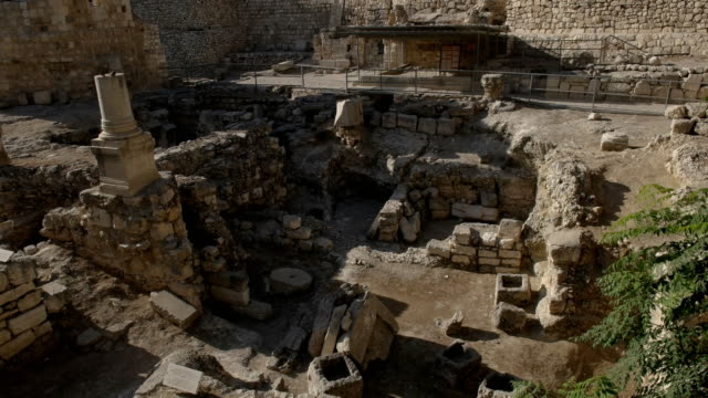 ruins of the pool of bethesda in jerusalem excavated ruins of the pool of bethesda in jerusalem, israel old ruin stock videos & royalty-free footage