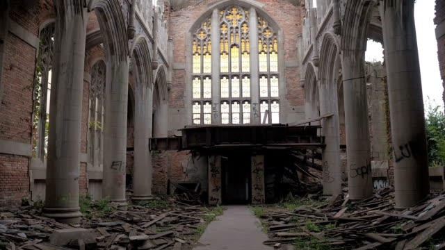 CLOSE UP: Ruins of the sanctuary at the abandoned City Methodist Church, Gary