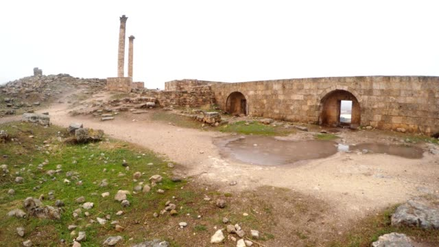 Ruins of Urfa Castle Two Columns Cloudy Wintry Day video