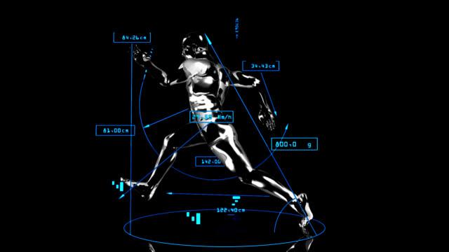 3 d uomo con dati tecnici runner - balance graphics video stock e b–roll