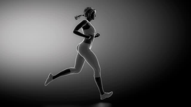Runnig woman focused on knee joint video