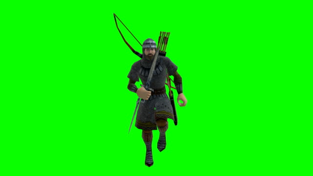 Running Archer Green Screen (Loopable) Soft Background knight person stock videos & royalty-free footage