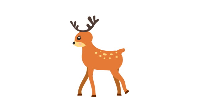Running deer walking animation with optional luma matte. Alpha Luma Matte included. 4k video